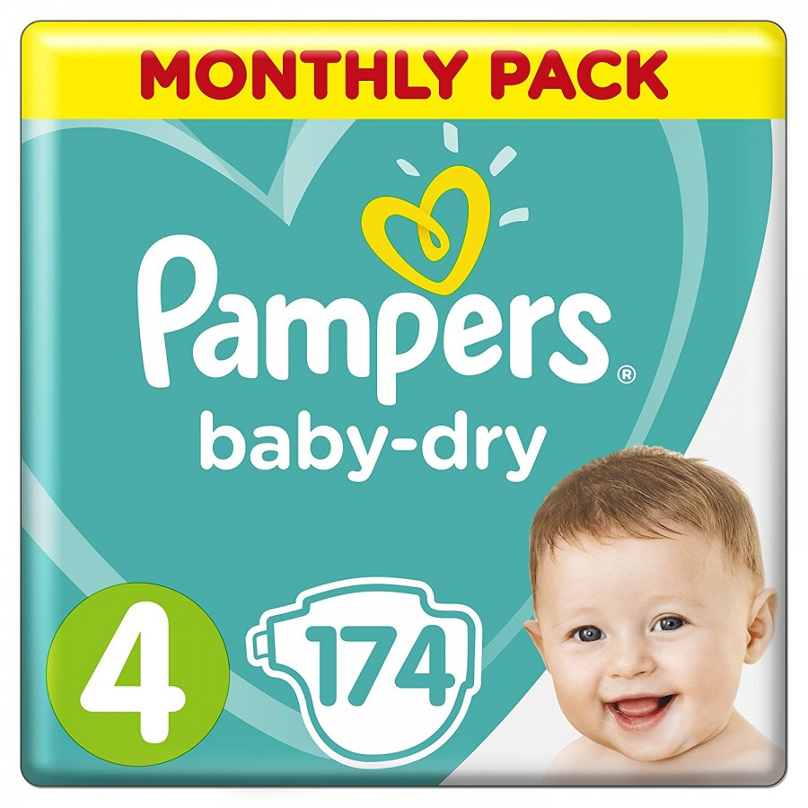 Pampers Baby-Dry 4, 174 броя