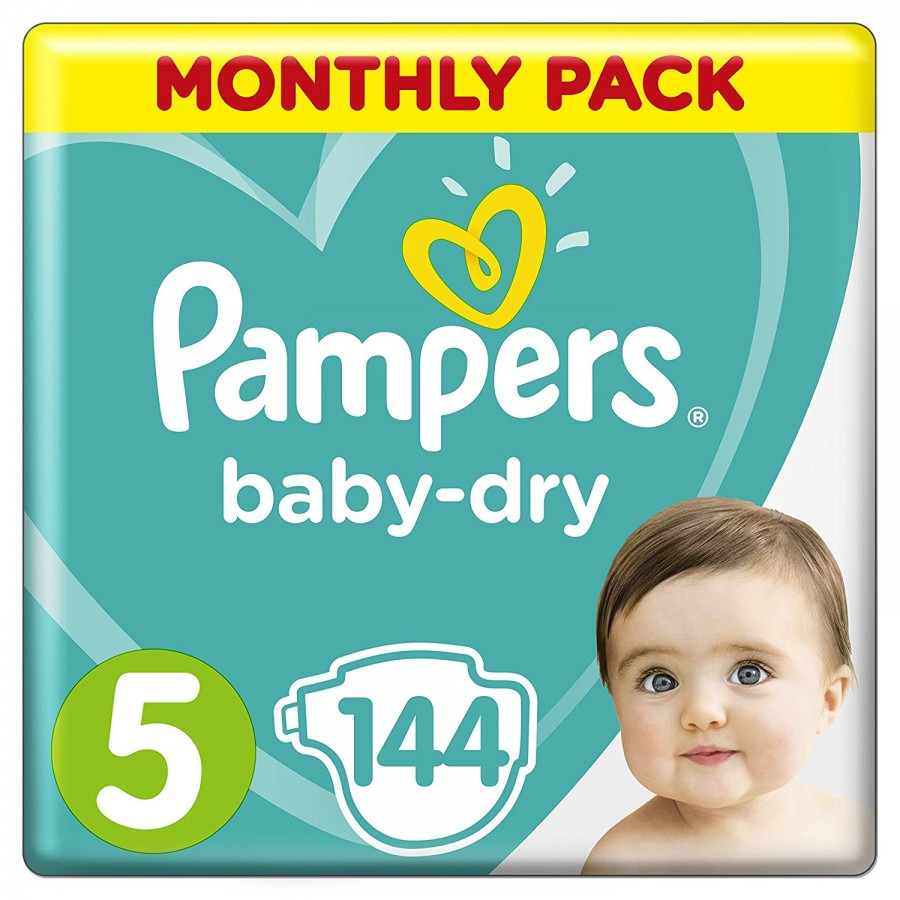 Pampers Baby-Dry 5, 144 броя
